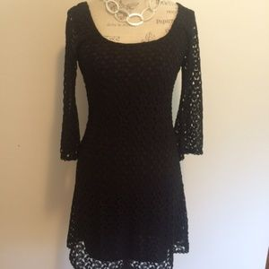 As U Wish Crochet Style Lined Midi Dress S